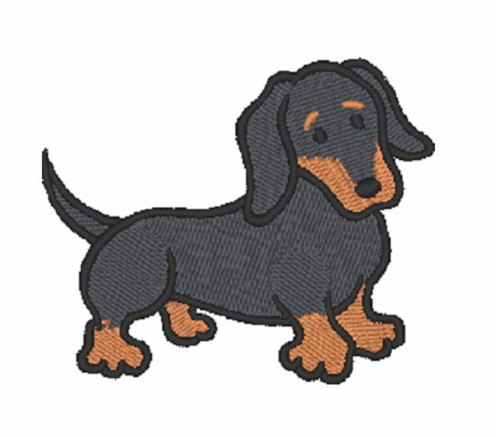 Dachshund Iron on Patch Black