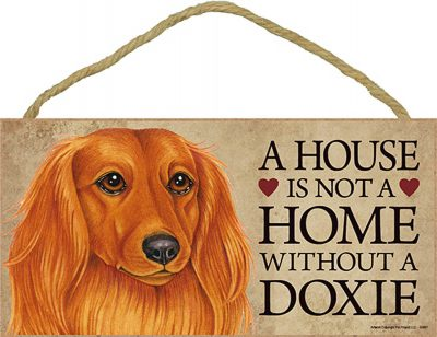 Dachshund Indoor Dog Breed Sign Plaque – A House Is Not A Home Long Hair + Bonus Coaster 1