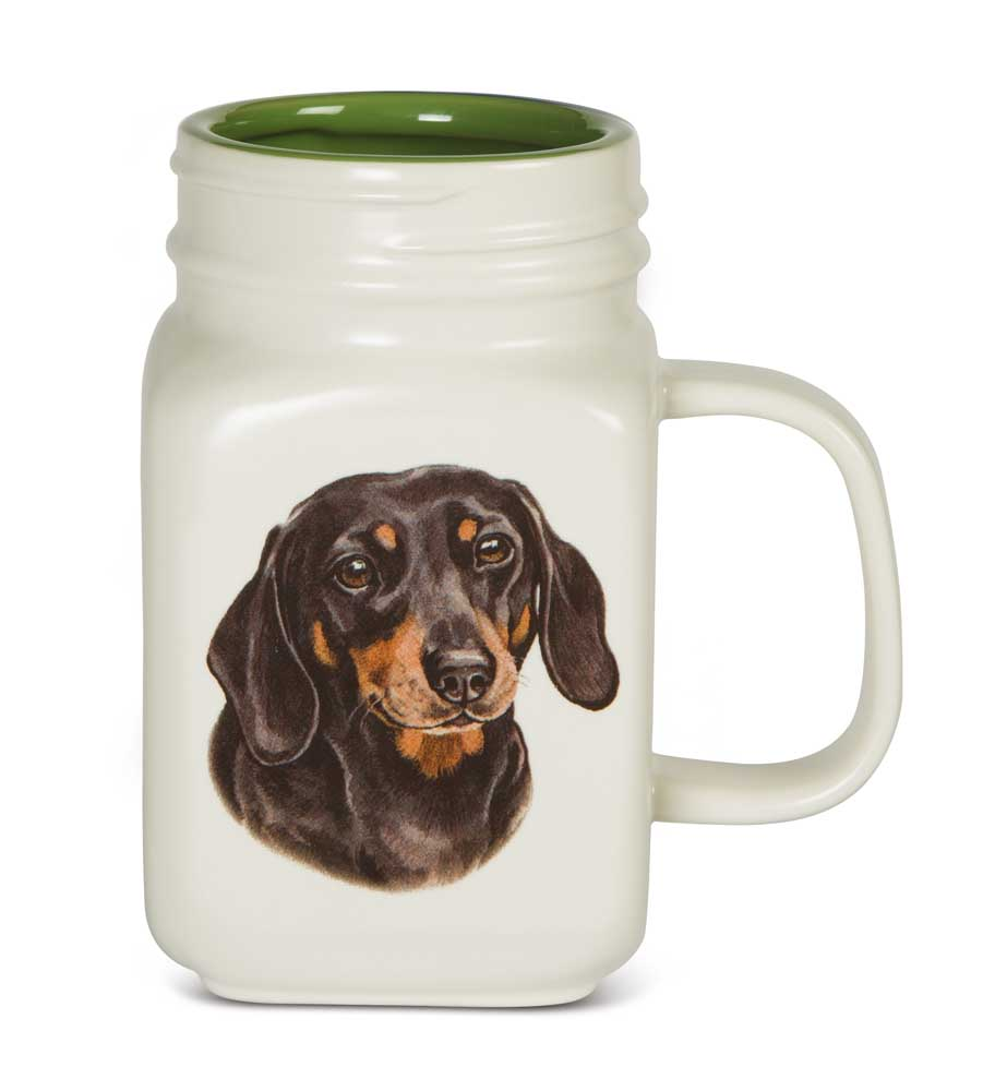 Dachshund 21 Oz. Ceramic Mug Mason Jar - All You Need Is Love