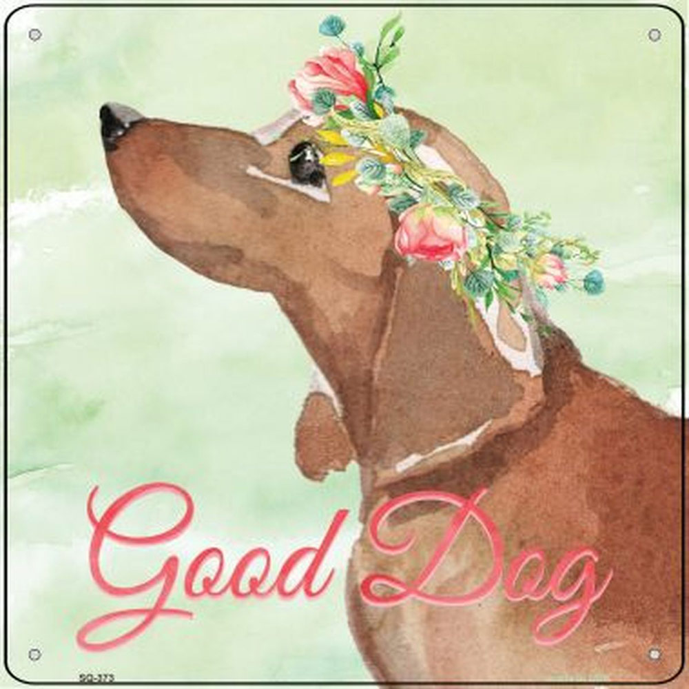 "Dachshund ""Good Dog"" Metal Sign Red"