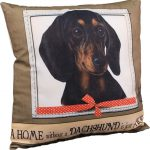 Dachshund Pillow 16×16 Polyester Black 1