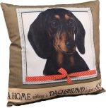 Dachshund Pillow 16x16 Polyester Black