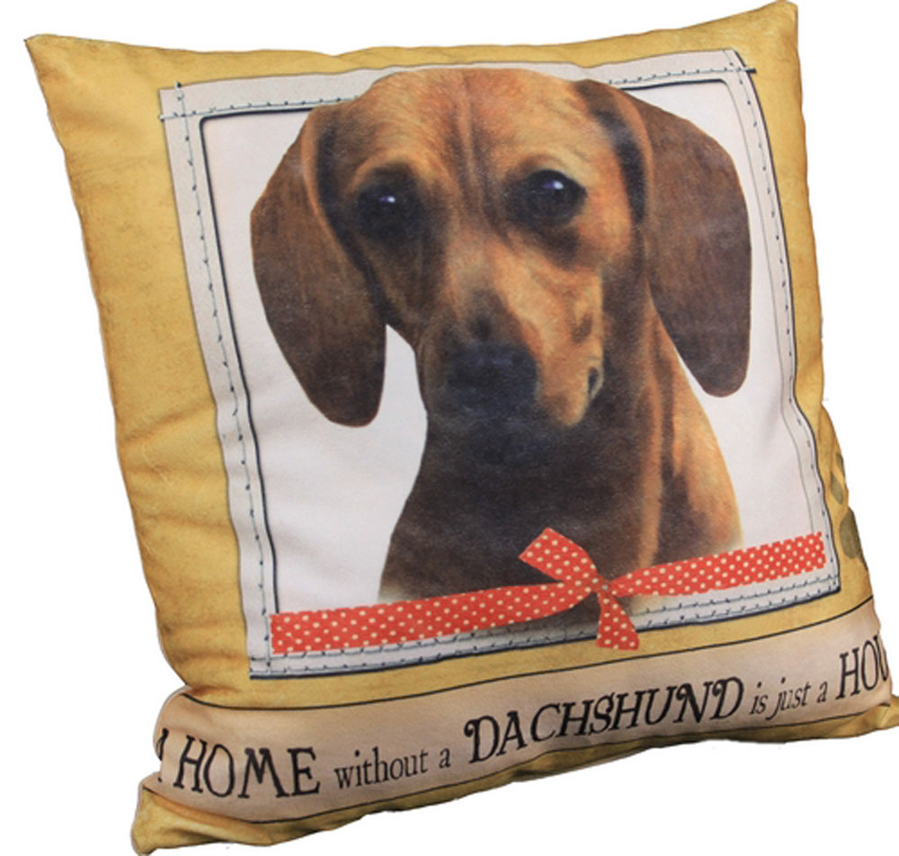 Dachshund Pillow 16x16 Polyester Red
