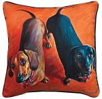 Dachshund Artistic Throw Pillow 18X18""