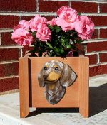 Dachshund Planter Flower Pot Red Dapple