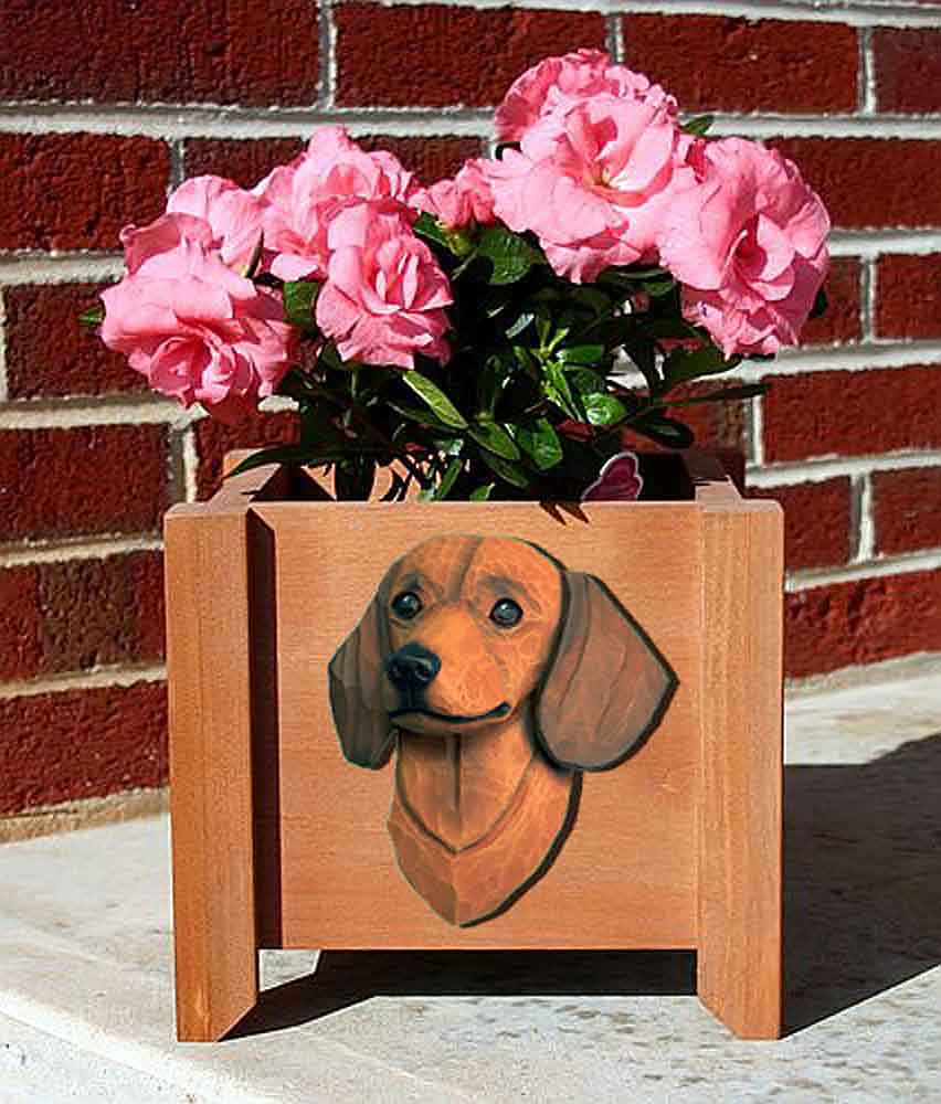 Dachshund Planter Flower Pot Red