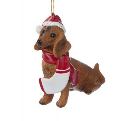 Dachshund Resin Santa Ornament 3