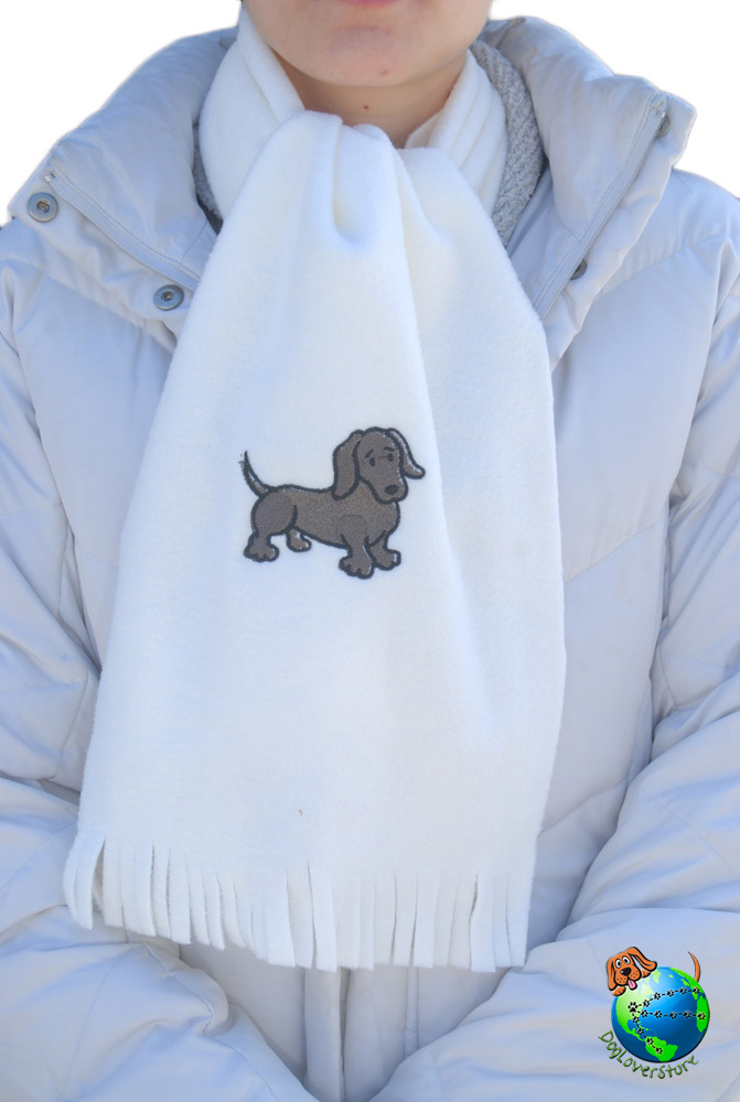 Dachshund Scarf Cream Fleece Black