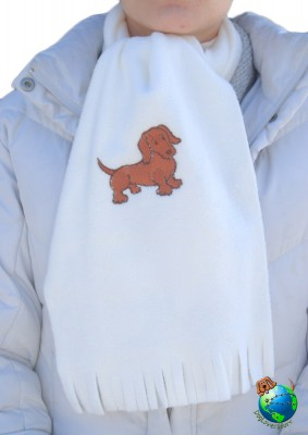 Dachshund Scarf Cream Fleece Red
