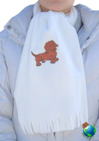 Dachshund Scarf Cream Fleece Red 1