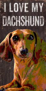 Dachshund Sign - I Love My 5x10