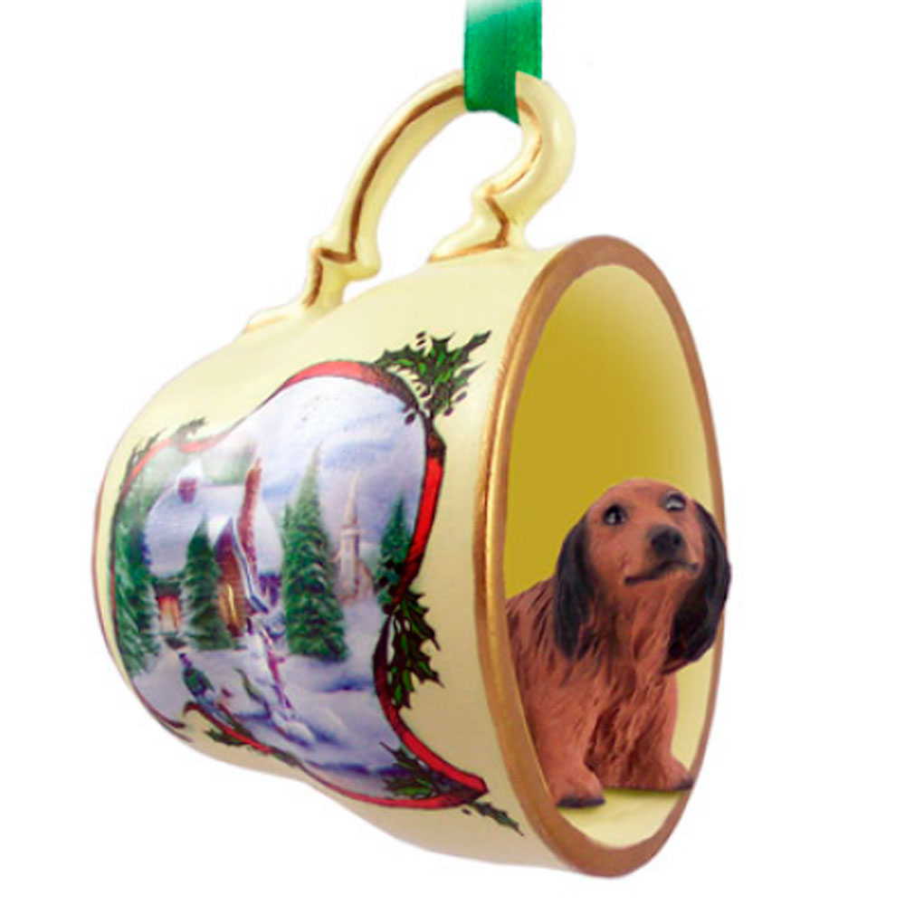 Dachshund Ornament Teacup Red Long Hair