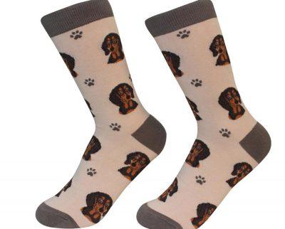 Dachshund Face Pattern Socks Black