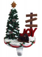 Dachshund Stocking Holder Hanger Black Long Hair