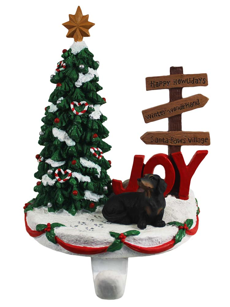 Dachshund Stocking Holder Hanger Black
