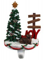 Dachshund Stocking Holder Hanger Red