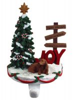 Dachshund Stocking Holder Hanger Red Long Hair