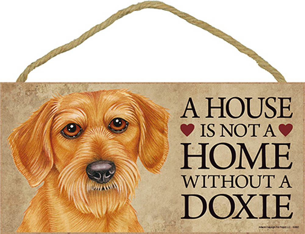Dachshund Indoor Dog Breed Sign Plaque - A House Is Not A Home Wire Hair + Bonus Coaster