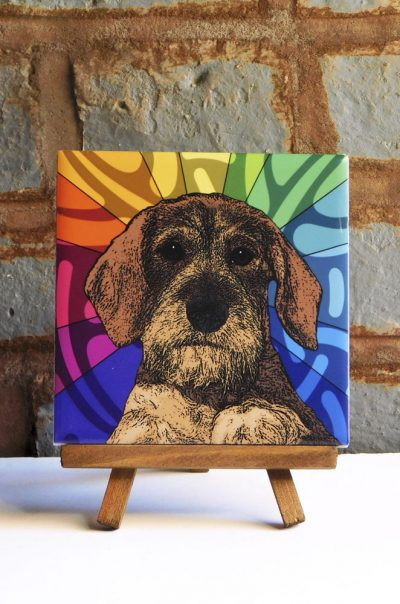 Wirehaired Dachshund Colorful Portrait Original Artwork on Ceramic Tile 4x4 Inches