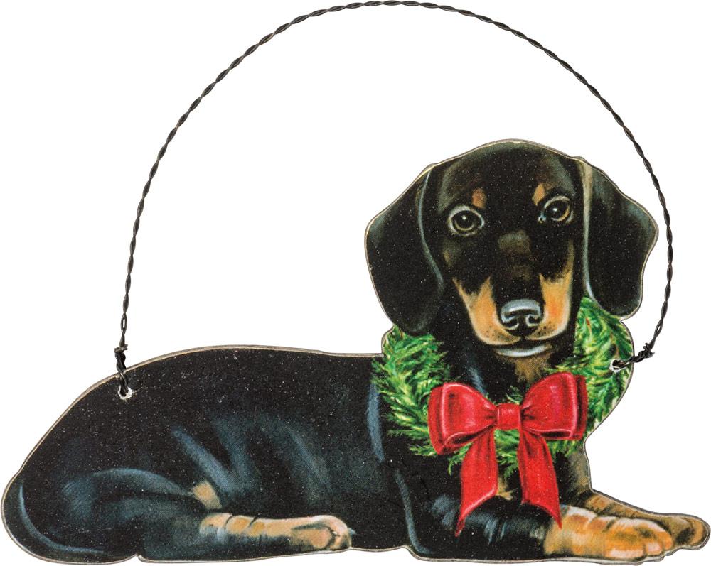 Dachshund Wood Ornament Black