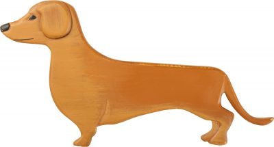 Dachshund Wood Wall Plaque Figure Red/Brown