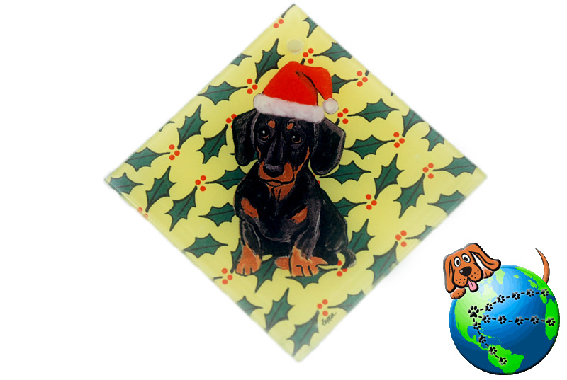 Dachshund Dog Crystal Glass Holiday Christmas Ornament Black