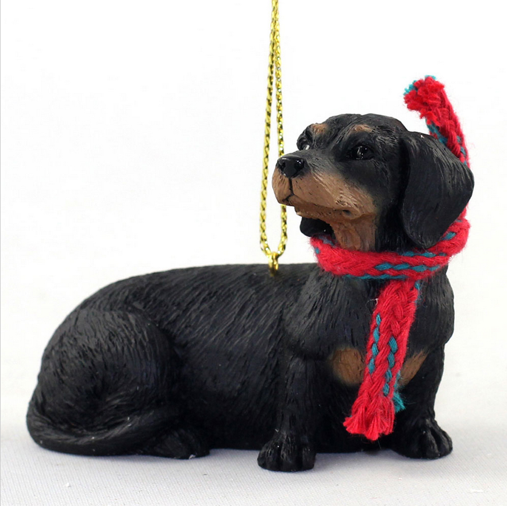 Dachshund Dog Christmas Ornament Scarf Figurine Black