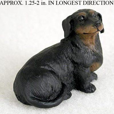 Dachshund Mini Resin Hand Painted Dog Figurine Black 1