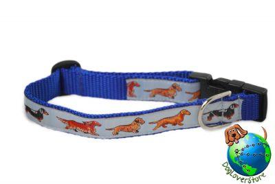"Dachshund Dog Breed Adjustable Nylon Collar Medium 10-16"" Blue"