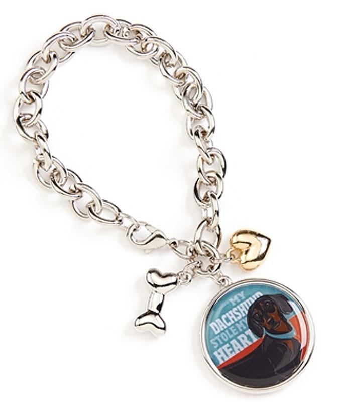 Dachshund Charm Bracelet w/ Heart & Bone Silver