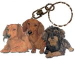 Dachshund Wooden Dog Breed Keychain Key Ring