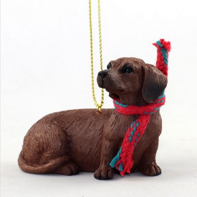 Dachshund Dog Christmas Ornament Scarf Figurine Red 1