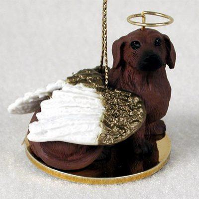 Dachshund Dog Figurine Guardian Angel Red