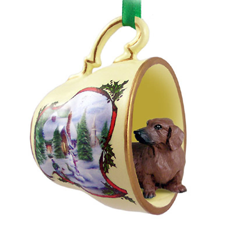 Dachshund Dog Christmas Holiday Teacup Ornament Figurine Red