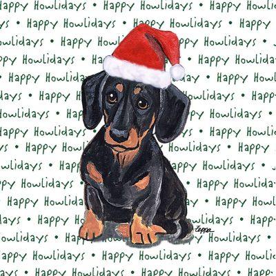 Dachshund Dog Coasters Christmas Themed Black