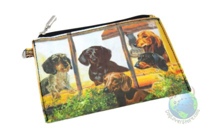4 Dachshunds in Window Design on Zippered Coin bag