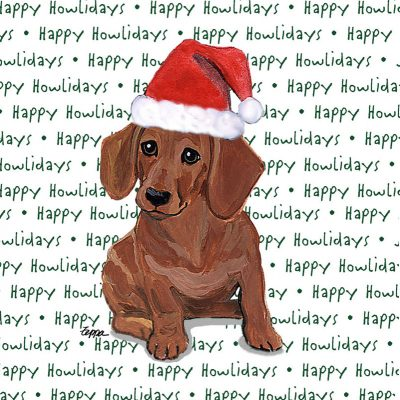 Dachshund Dog Coasters Christmas Themed Red