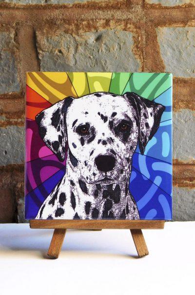 Dalmatian Colorful Portrait Original Artwork on Ceramic Tile 4x4 Inches