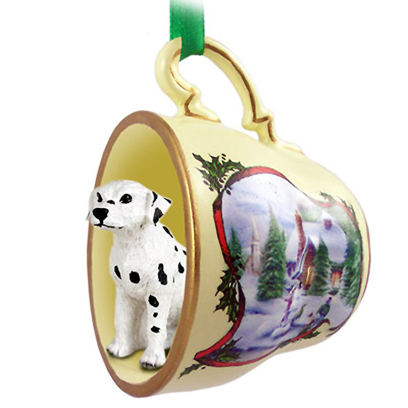 Dalmatian Dog Christmas Holiday Teacup Ornament Figurine