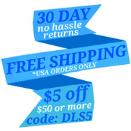 30 Day No Hassle Returns - Yearly Discounts - $5 off $50 Use