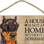 Doberman Indoor Dog Breed Sign Plaque – A House Is Not A Home Black + Bonus Coaster 1