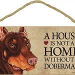 Doberman Wood Dog Sign Wall Plaque 5 x 10 + Bonus Coaster 1