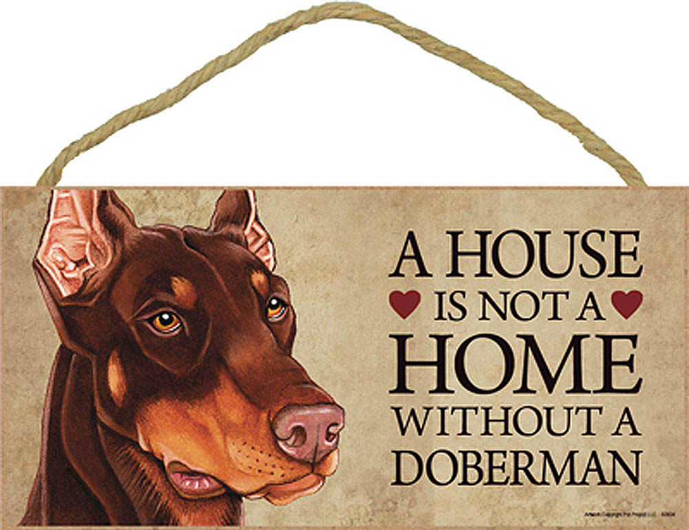Doberman Wood Dog Sign Wall Plaque 5 x 10 + Bonus Coaster