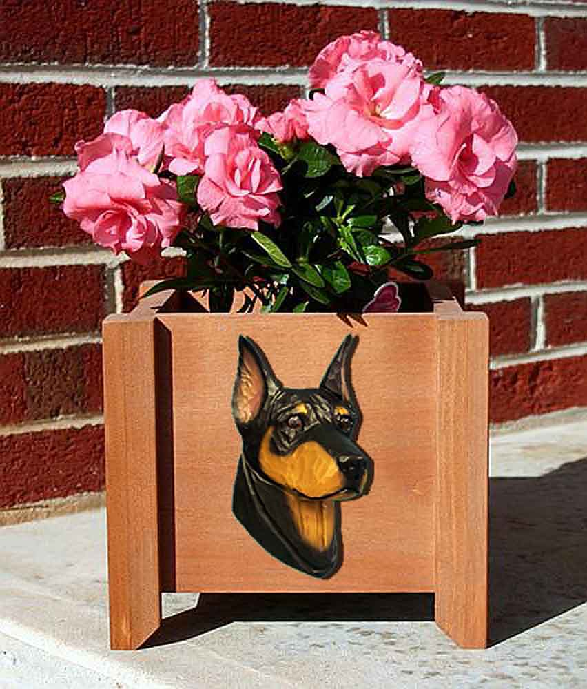 Doberman Pinscher Planter Flower Pot Black Tan