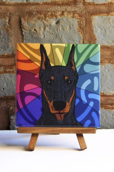 Doberman Pinscher Black/Tan Cropped Colorful Portrait Original Artwork on Ceramic Tile 4x4 Inches