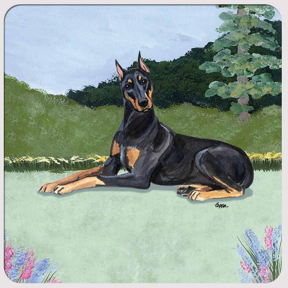 Doberman Pinscher Yard Scene Coasters Set of 4 Black