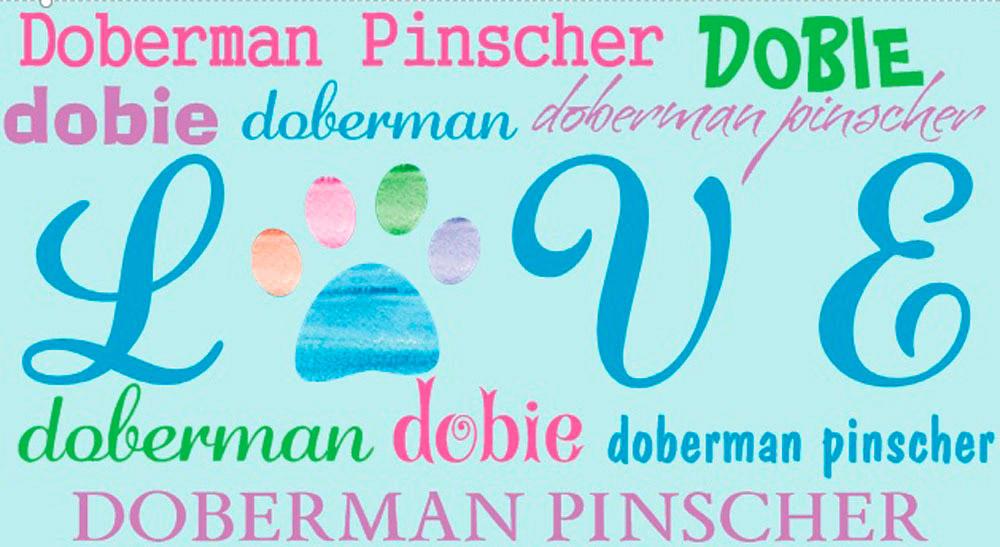 Doberman Pinscher Rectangular Magnet That Says Love & Doberman Pinscher in a Pattern