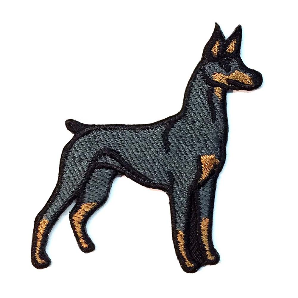 Doberman Pinscher Iron on Embroidered Patch Black