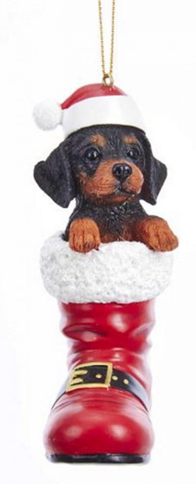 Doberman Pinscher Santa Boot Ornament