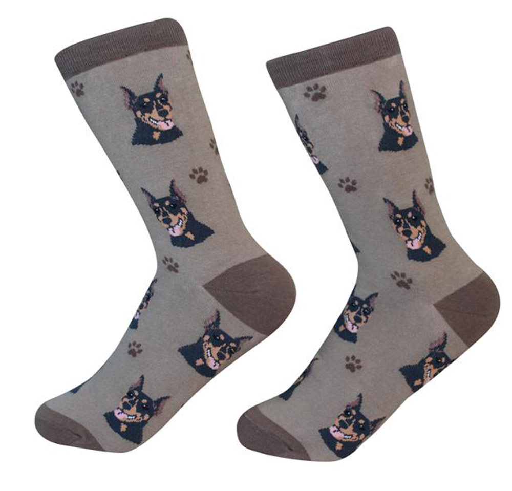 Doberman Pinscher Face Pattern Socks Black
